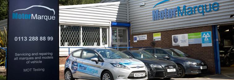 Cars for sale outside Motor Marque's garage in Horsforth, Leeds