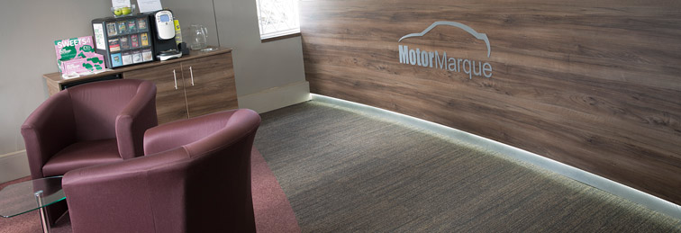 Motor Marque reception area with free wi-fi